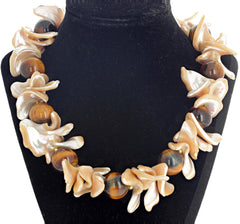 Unique Splendid Shell and Tiger Eye Necklace