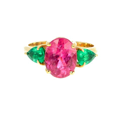 Tourmaline and Emerald 18K Yellow Gold Ring