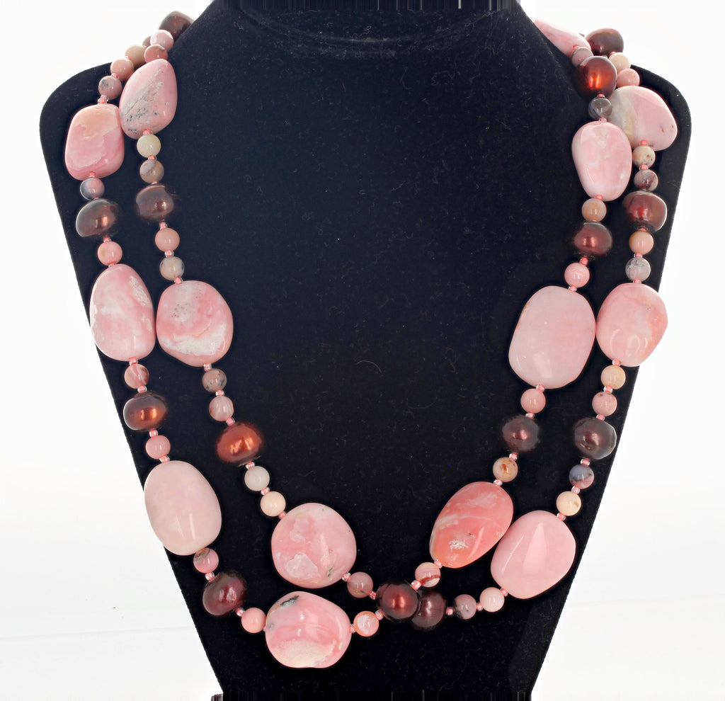 Peruvian Natural Pink Opal and Pearl Necklace