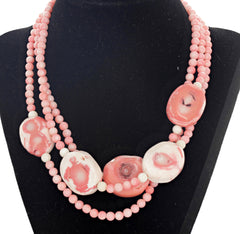 Three -Strand Pink Coral Necklace