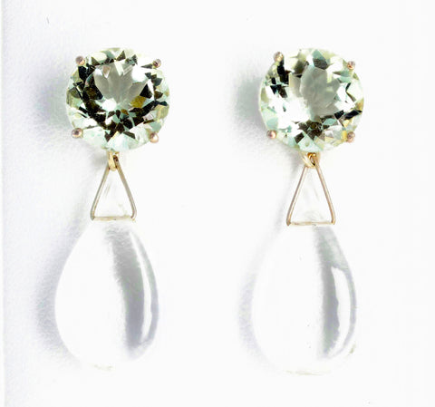 Praziolites and Quartz Sterling Silver Stud Earrings