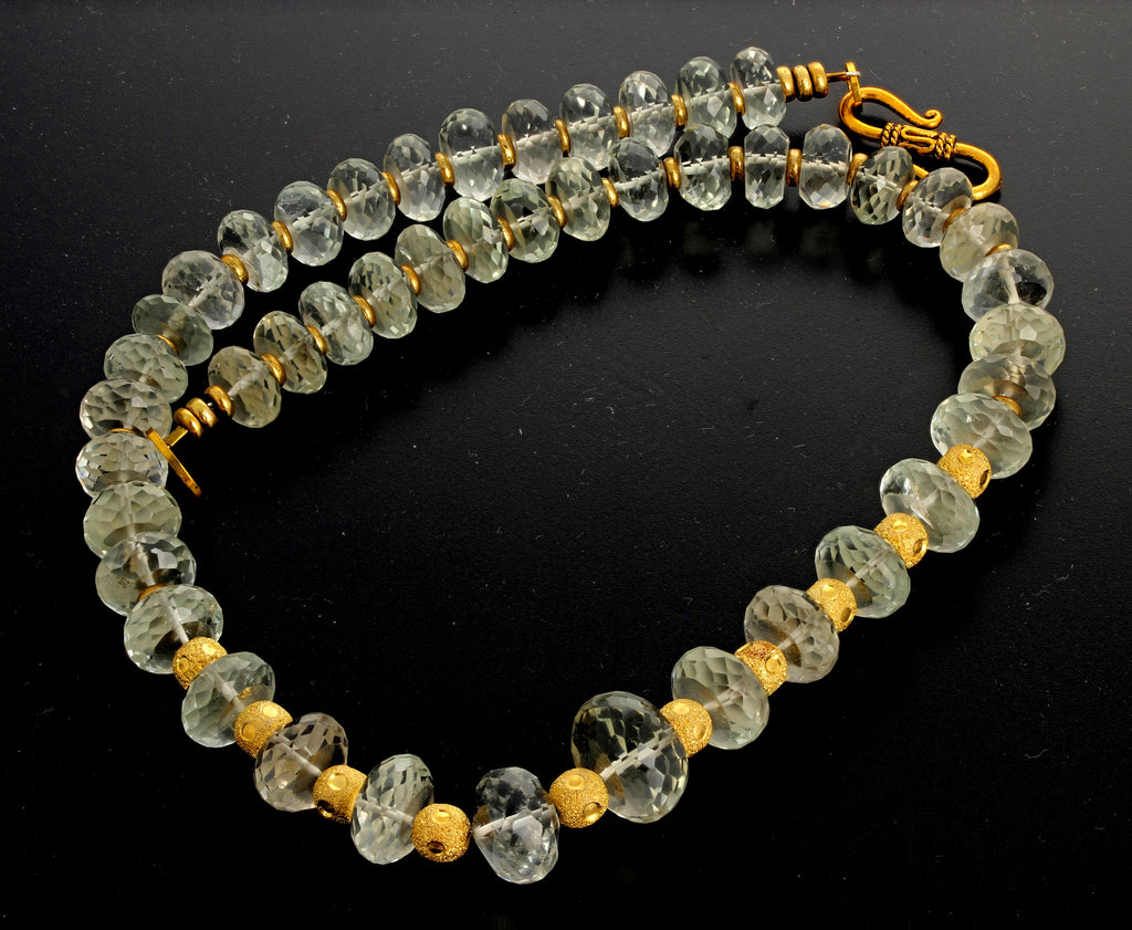 Unique Glittering Praziolite - Green Amethyst - Necklace