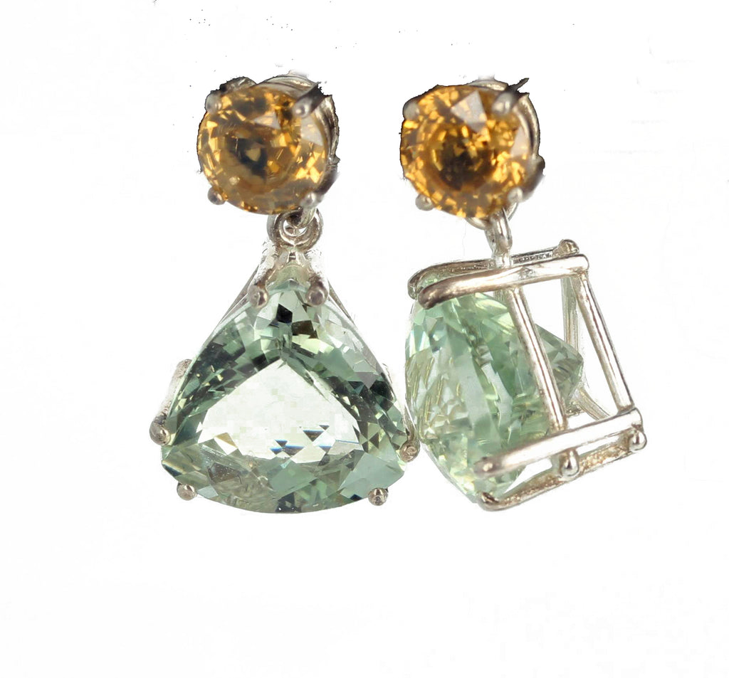 Praziolite and Zircon Sterling Silver Earrings