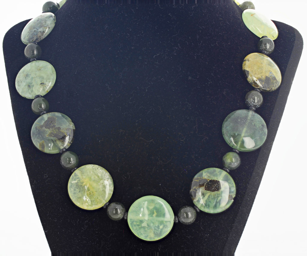 Unique Prehnite and Jasper Necklace
