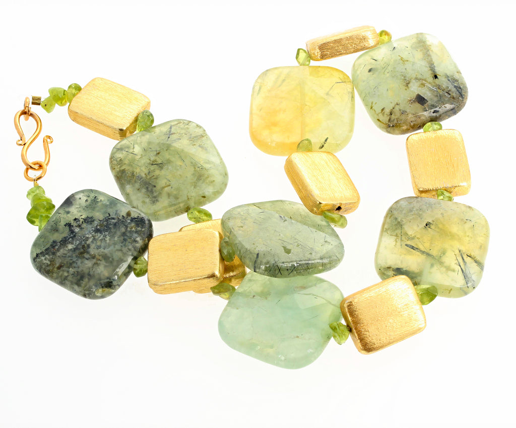 Unique Prehnite, Peridot and Goldy 18