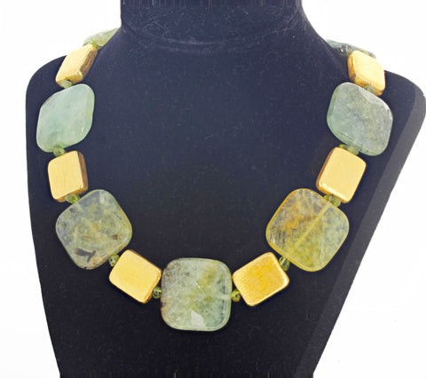 "Unique Prehnite, Peridot and Goldy 18"" Necklace"