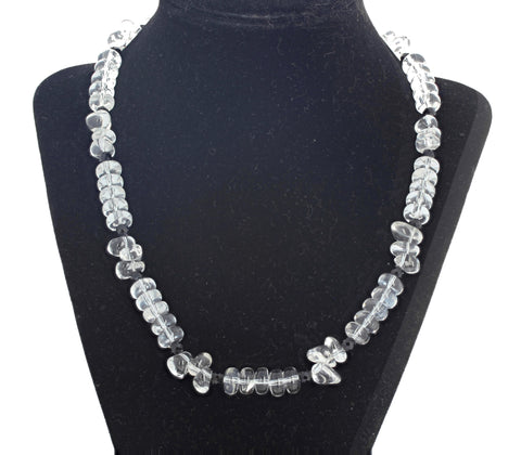 Silver Natural Quartz and Black Spinel Diamond Clasp Necklace