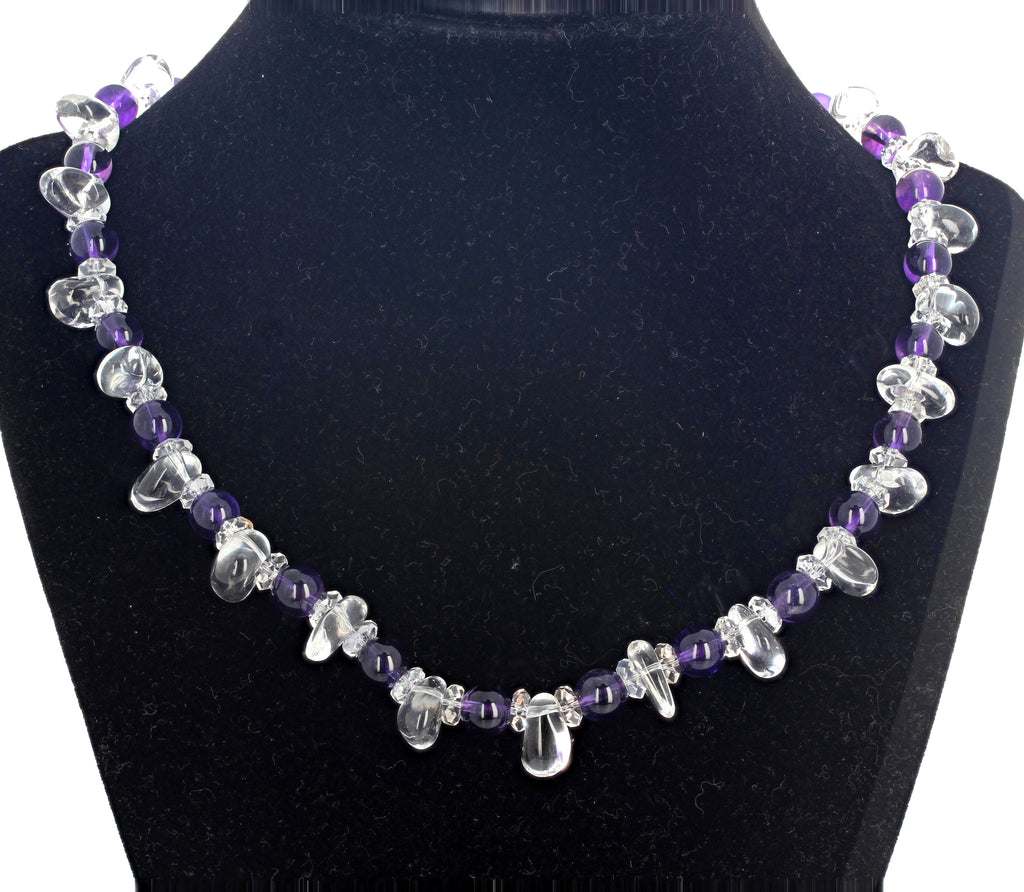 Unique Amethyst and Silver White Quartz Necklace