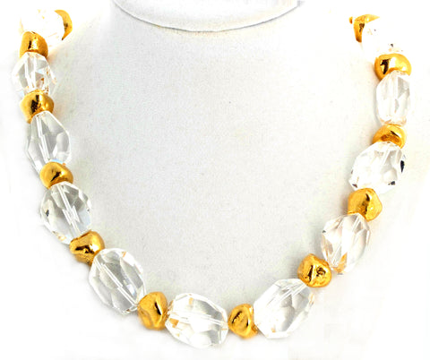 Unique Silvery White Quartz and Goldy Nugget Necklace