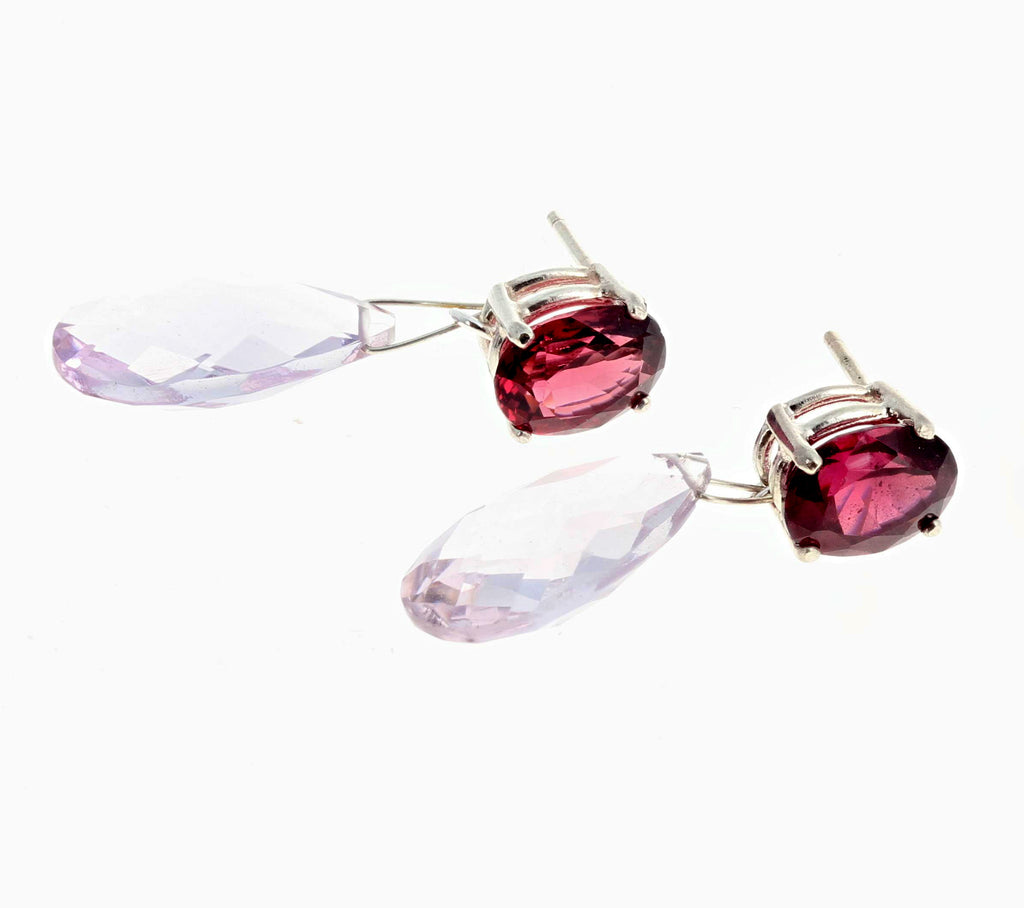 Red Zircon and Rose of France Amethyst Sterling Silver Stud Earrings