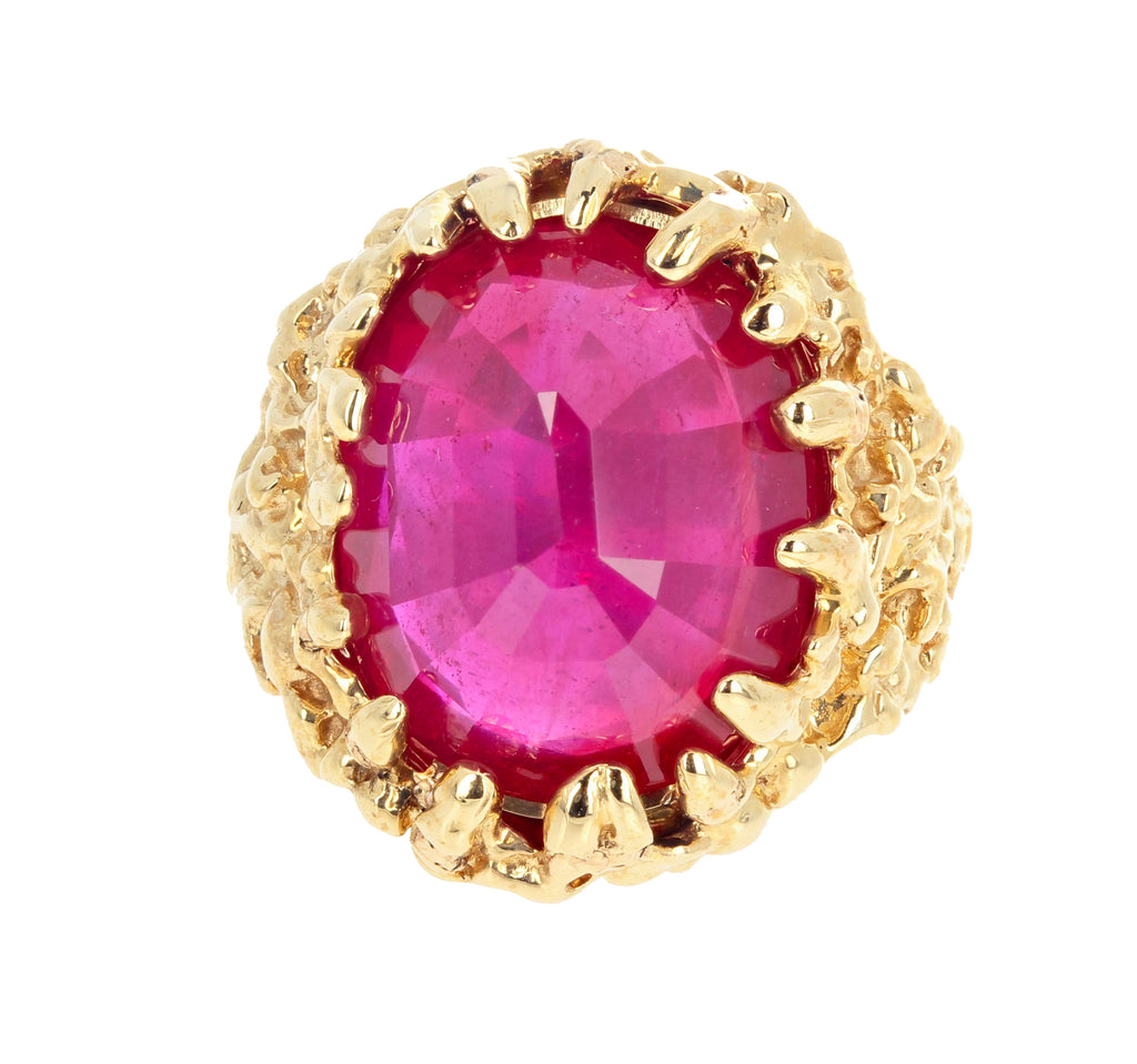 Unique Huge 15 Carat Ruby 14Kt Yellow Gold Ring