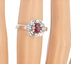Unique Red Sapphire and White Zircon Ring