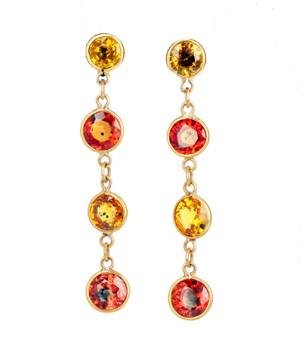 Sapphires in Dangling Gold Stud Earrings