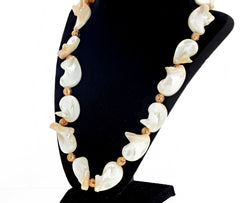 Curly Pearl Shell and Goldy Lava Necklace