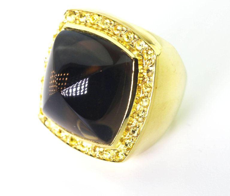 Smoky Quartz and Sapphire 18K Yellow Gold Ring