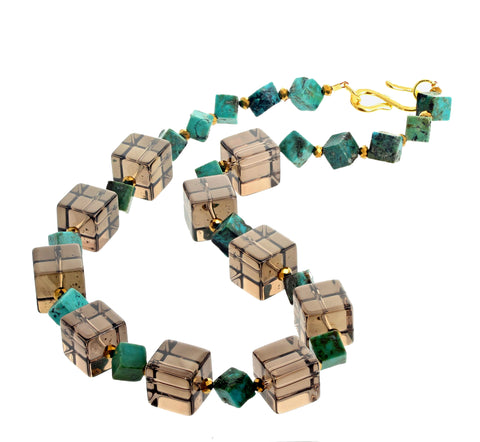 Unique Clear Smoky Quartz Cubes and Turquoise Necklace