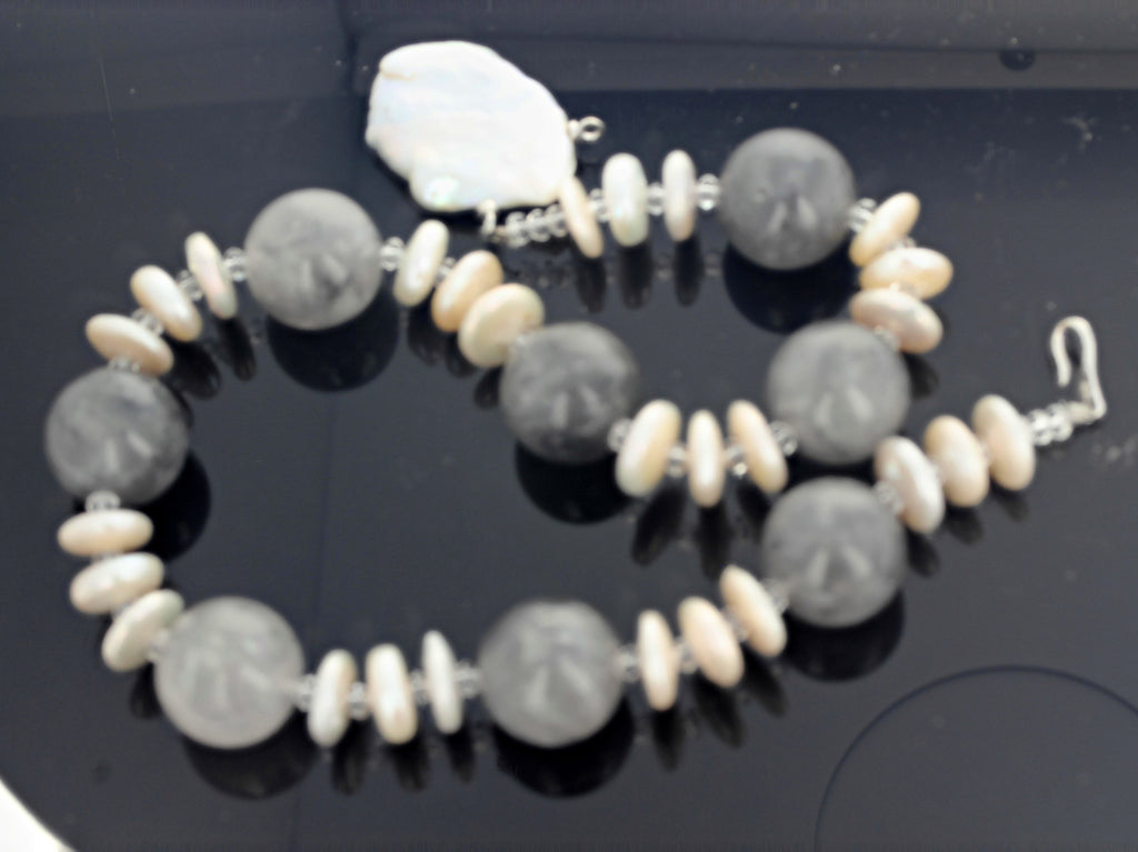 16.5 Inch Long Smoky Quartz and Pearl Necklace