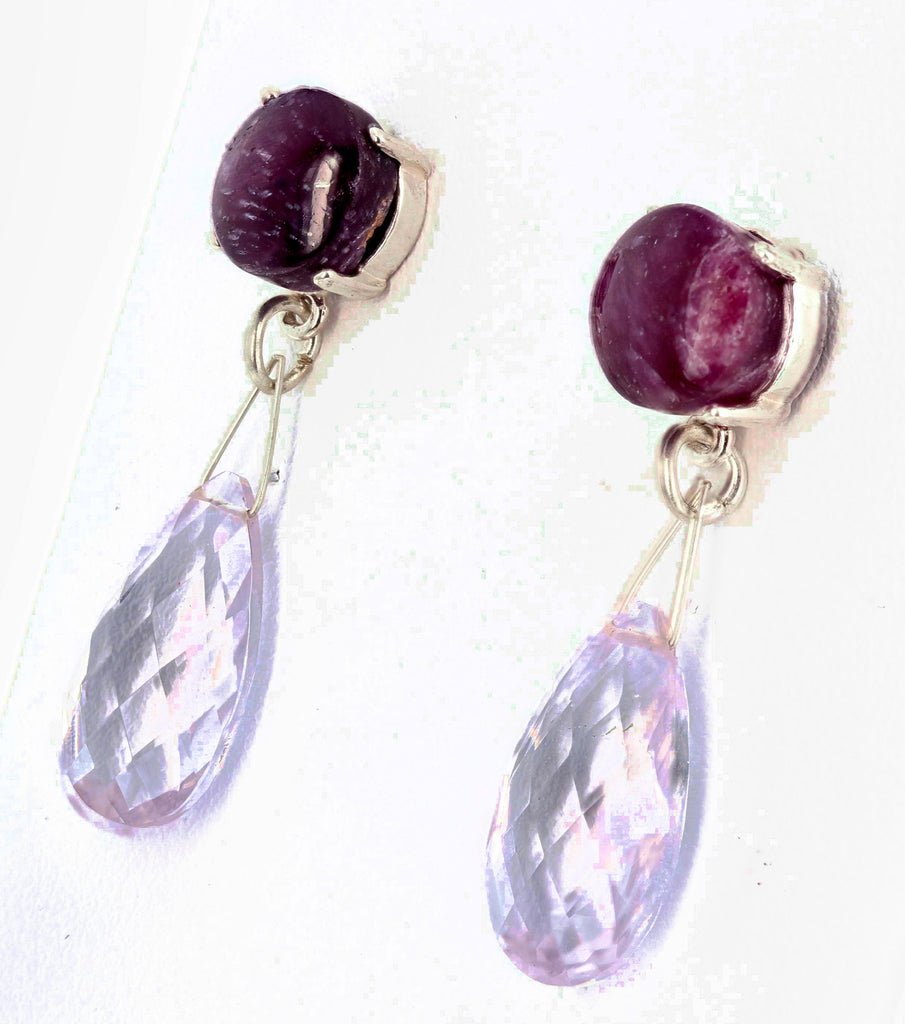 Ruby Rock and Rose of France Amethyst Dangling  Stud Earrings