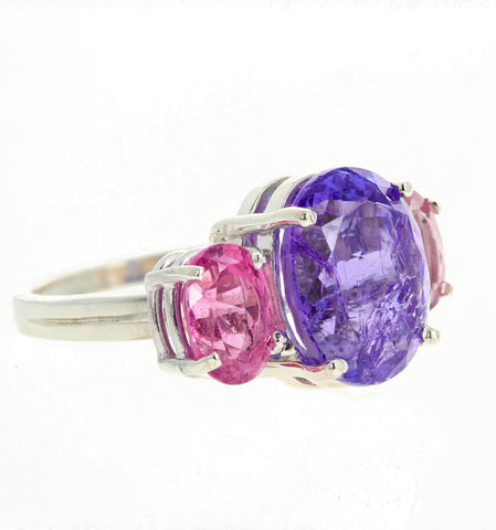 7.5 Carat Tanzanite and Pink Tourmaline Sterling Silver Ring