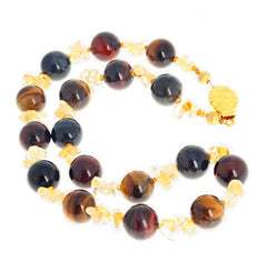 Glowing Natural Multi-Color Tiger Eye and Citrine Necklace