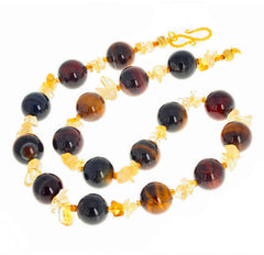 Glowing Tiger Eye and Citrine Necklace