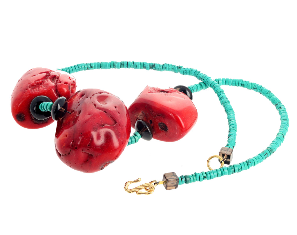 Huge Coral Chunk and Turquoise Neckace