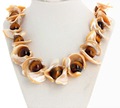 Huge Pearl Shells and Tiger Eye Necklace