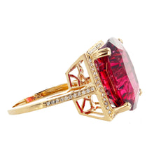 16.21 Carat Red Glittering Tourmaline and Diamond 14KT Yellow Gold Ring