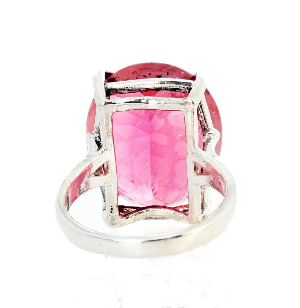 17.22 Carat PINK Tourmaline Sterling Silver Ring