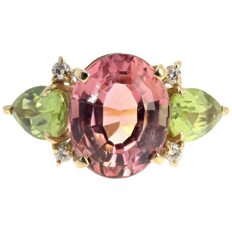 Tourmaline and Peridot and Diamond 18K Yellow Gold Ring
