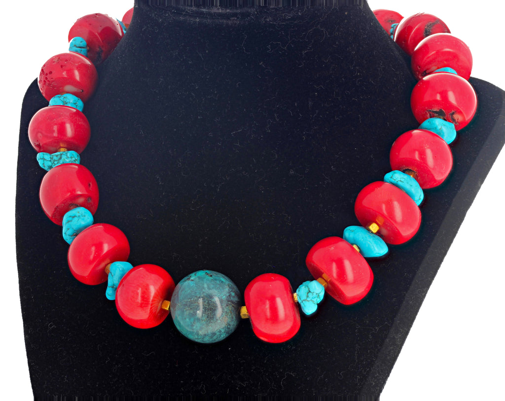 Red Coral, Blue Magnesite and Azurite Necklace