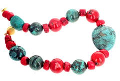 Unique Turquoise and Bamboo Coral Necklace