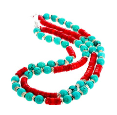 Turquoise and Red Bamboo Coral Double Strand Necklace