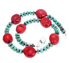 Bamboo Coral, Natural Turquoise, Sparkling Spinel Necklace