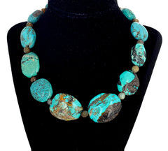 Chinese Blue Turquoise and Labradorite Necklace