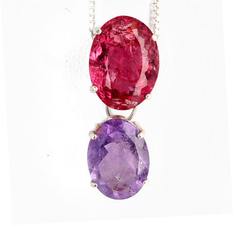 Red Tourmaline and Purple Tourmaline Sterling Silver Pendant