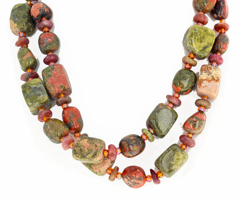 Unakite Jasper and Tourmaline Double Strand Necklace