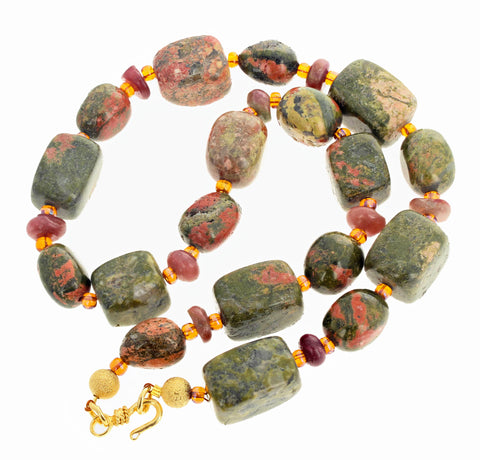 Unique Unakite Jasper and Tourmaline Necklace