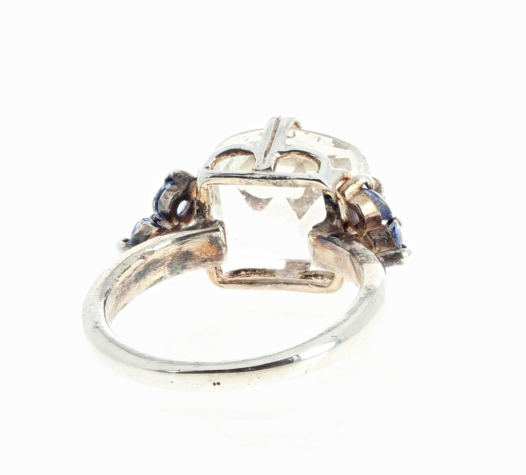 6.5 Carat Silver White Topaz and Blue Sapphire Silver Ring
