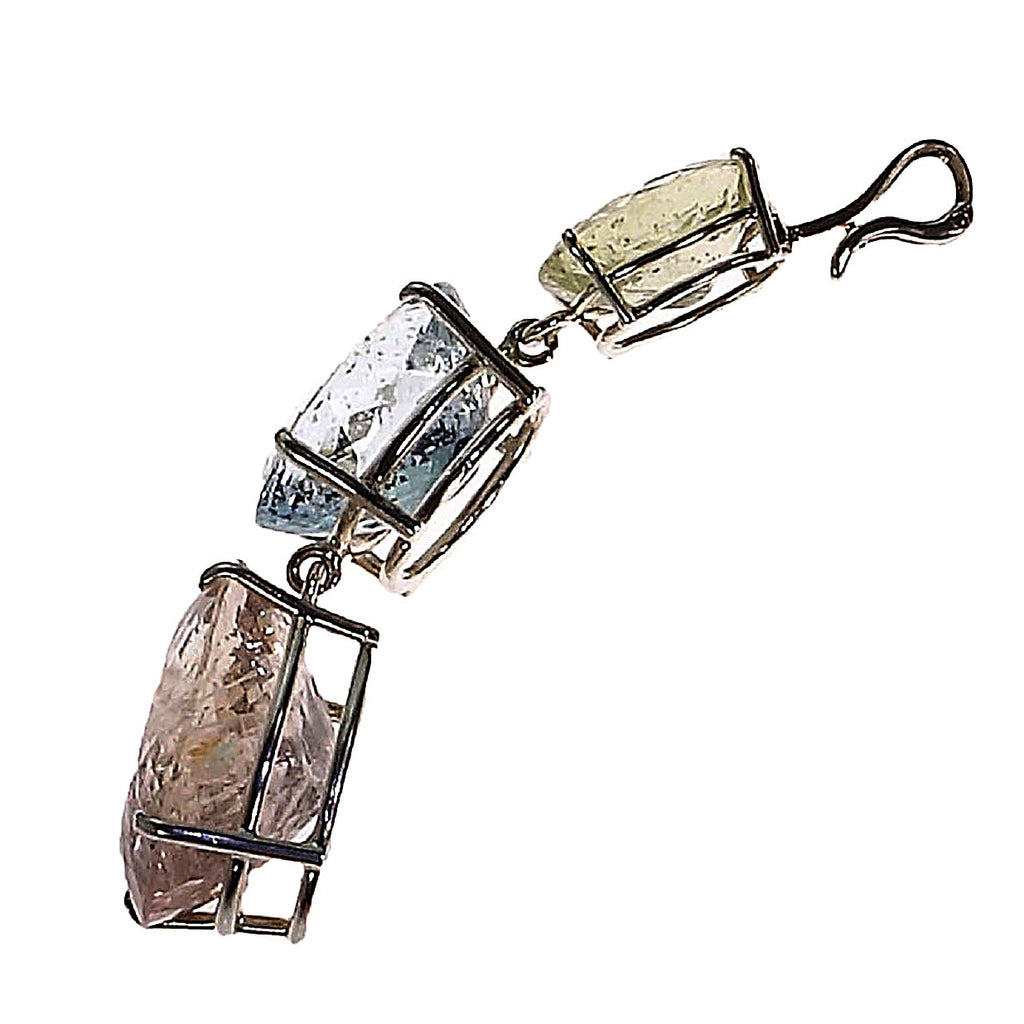 Gemjunky Magnificent Three Beryl Pendant in Sterling Silver