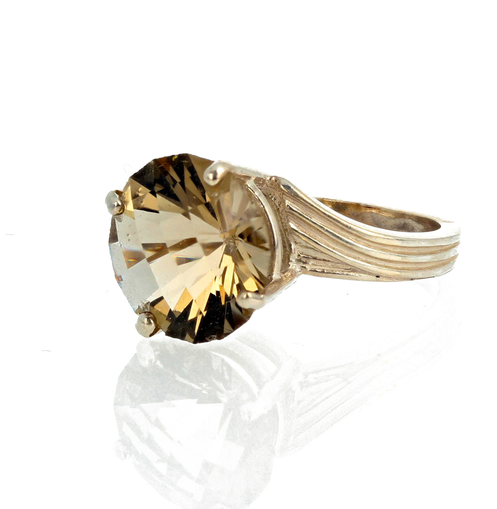 Brilliant YellowGold Labradorite Sterling Silver Ring