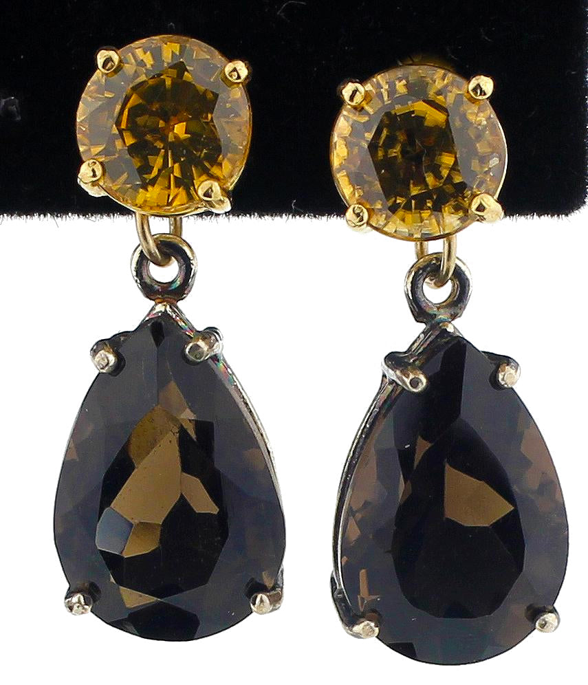 Yellow Zircon, Smoky Quartz & Gold Earrings