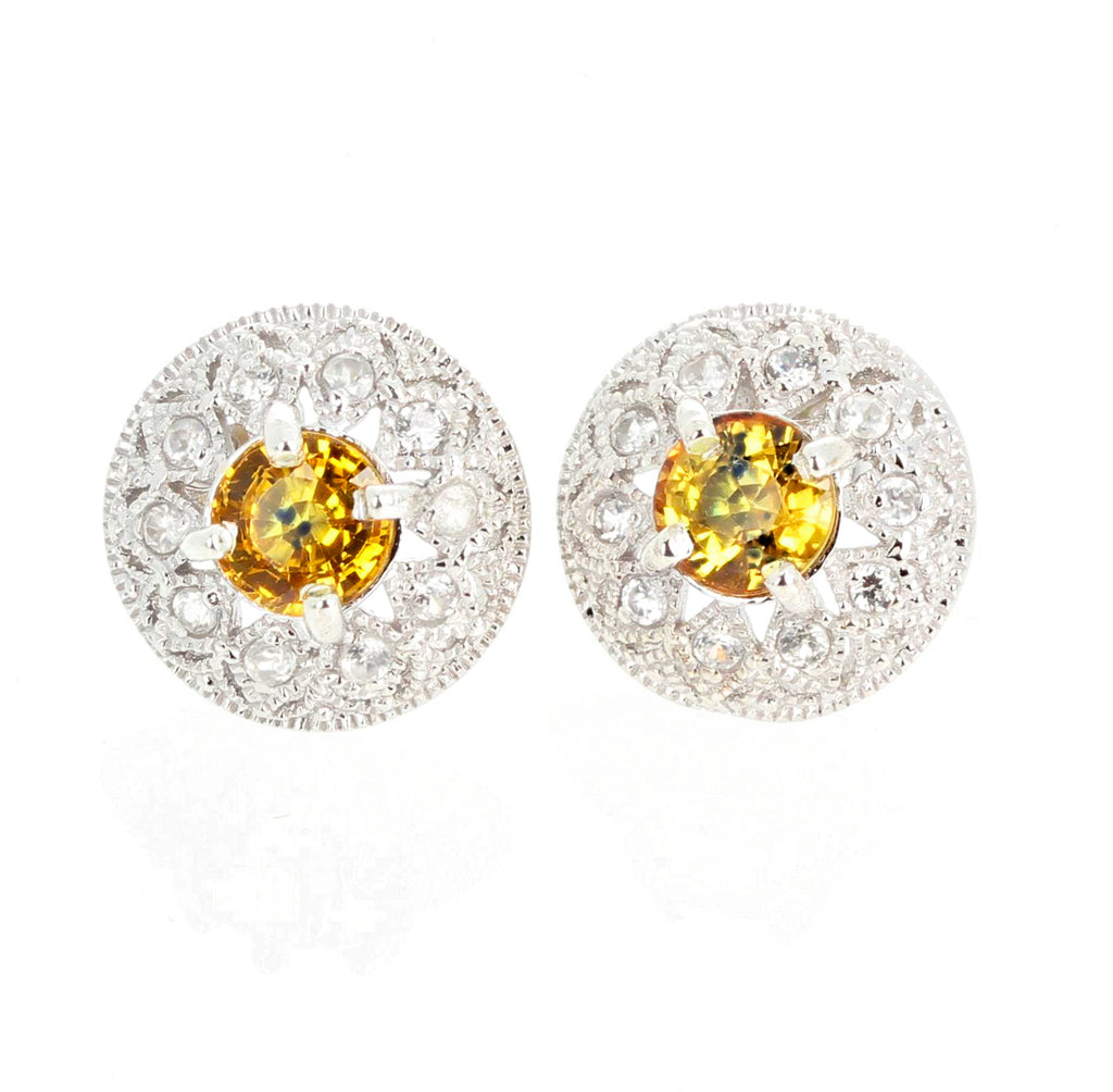 2.7 Carats Glittering Songea Yellow Sapphire and Diamond Earrings