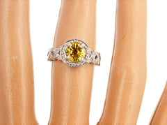 Rare Sparkling 1.3 Carat Canary Yellow Spinel and Diamond Ring