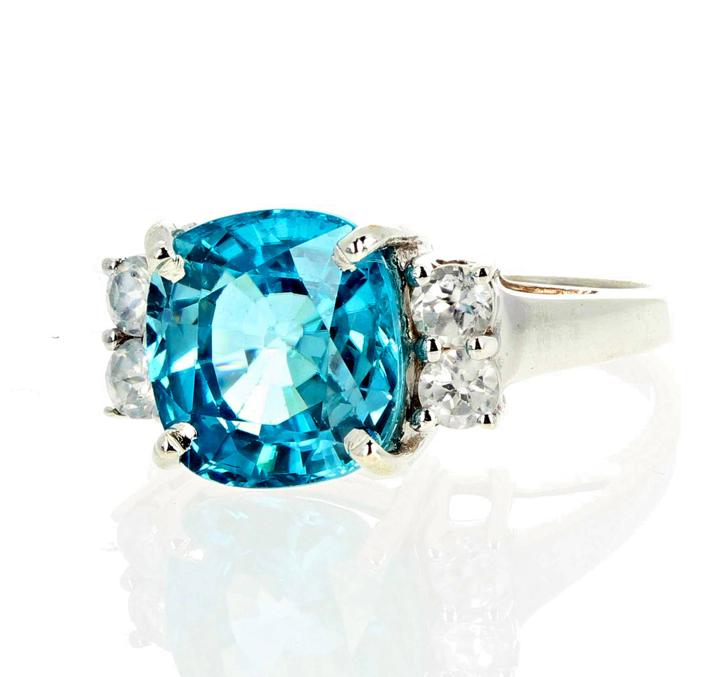 Brilliant 6.82 Carat Blue Cambodian Zircon and Diamond Ring