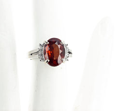 5.1 Carat Reddish Natural Zircon and Diamond White Gold Ring