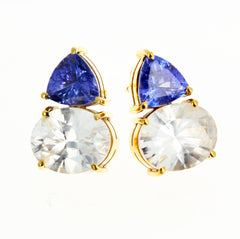 Tanzanite and White Zircon Gold Stud Earrings