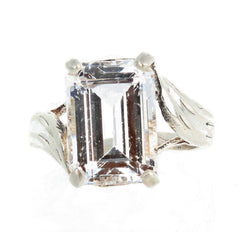 8.8 Carat Sparkling Zircon Rhodium Plated Sterling Silver Ring