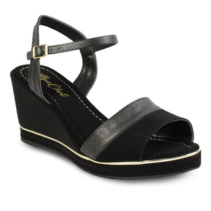 Mia's Closet Ankle Strap Wedge Slide Sandals