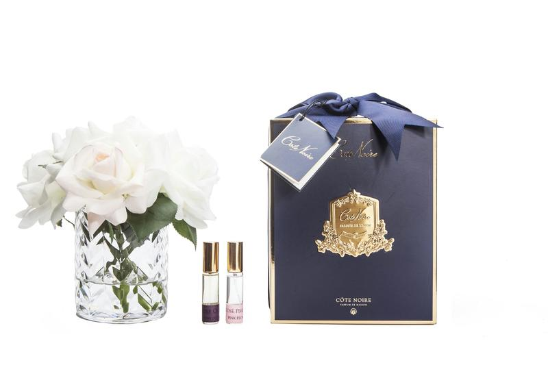 COTE NOIR Clear Herringbone Blush & White Roses